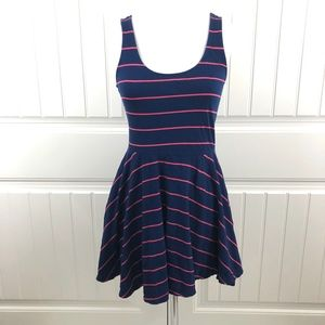 Forever 21 Blue and Pink Stripe Skater Dress
